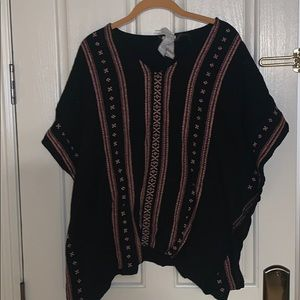 Forever 21 Black and Pink Poncho Shirt